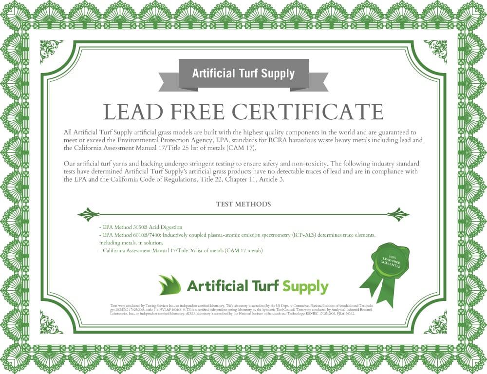lead free certificate